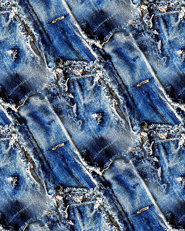 Denim Jeans - Buttonhole Bits - Delft Blue - DIGITAL PRINT