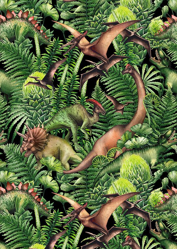 Dinosaurs - Watercolor Jungle - Black - DIGITAL PRINT