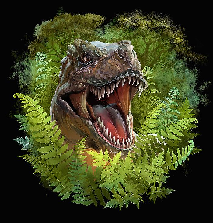 "Dinosaur in the Jungle - Black - 41"" x 44"" PANEL - DIGITAL PRINT"