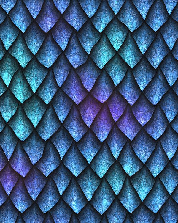 Dragon Scales - Sharp & Fierce - Azure Blue - DIGITAL PRINT
