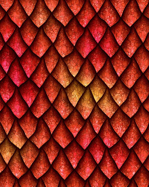 Dragon Scales - Sharp & Fierce - Cinnamon Red - DIGITAL PRINT