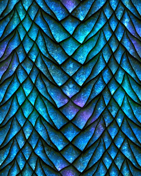 Dragon Scales - Fierce Stripes - Azure Blue - DIGITAL PRINT