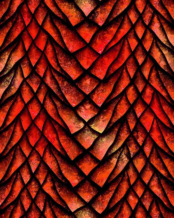 Dragon Scales - Fierce Stripes - Cinnamon Red - DIGITAL PRINT