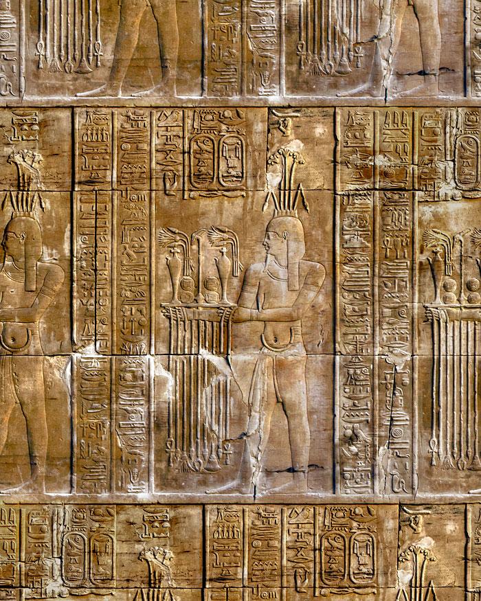 Egyptian Temple of Kom Hieroglyphs - Stone Brown - DIGITAL PRINT