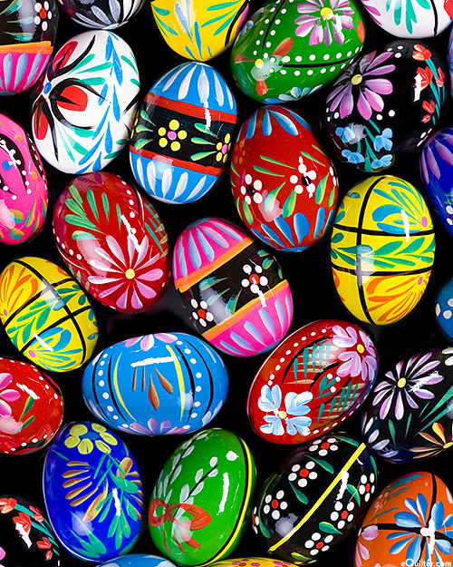 European Painted Easter Eggs - Black/Multi - DIGITAL PRINT