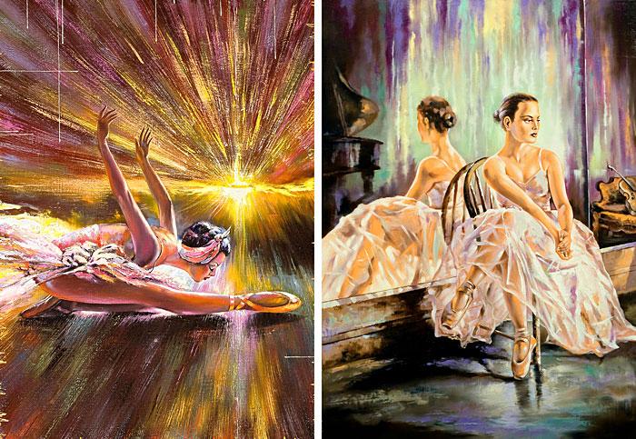 "Ballet Dancers - Painted Poise - 30"" x 44"" PANEL - DIGITAL PRINT"