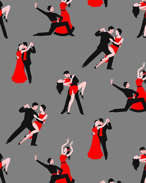 Tango Dancers - Pewter Gray - DIGITAL PRINT