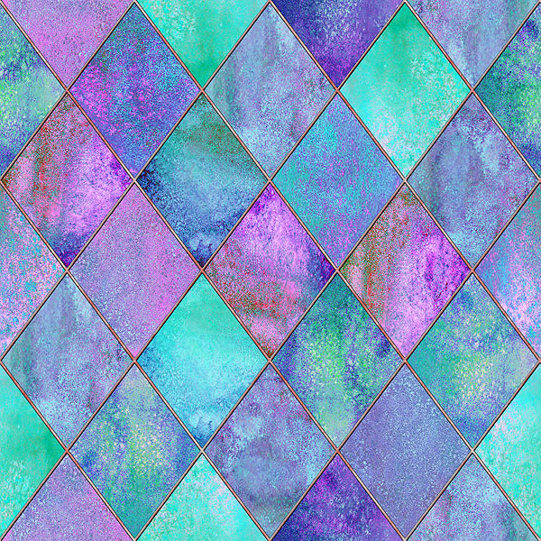Stained Glass Window - Watercolor Argyle - Aqua - DIGITAL PRINT