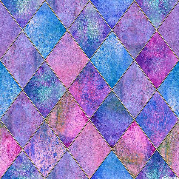 Stained Glass Window - Watercolor Argyle - Lilac - DIGITAL PRINT