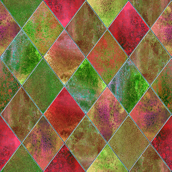 Stained Glass Window - Watercolor Argyle - Holiday - DIGITAL