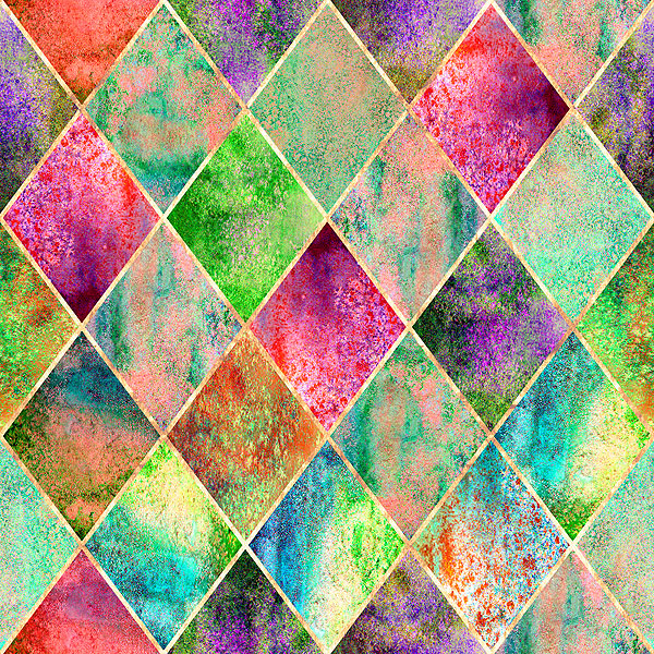 Stained Glass Window - Watercolor Argyle - Multi - DIGITAL PRINT