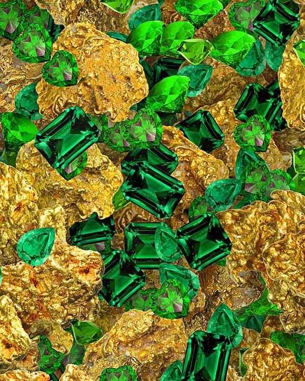 Gold Nuggets & Emeralds - Emerald Green - DIGITAL PRINT