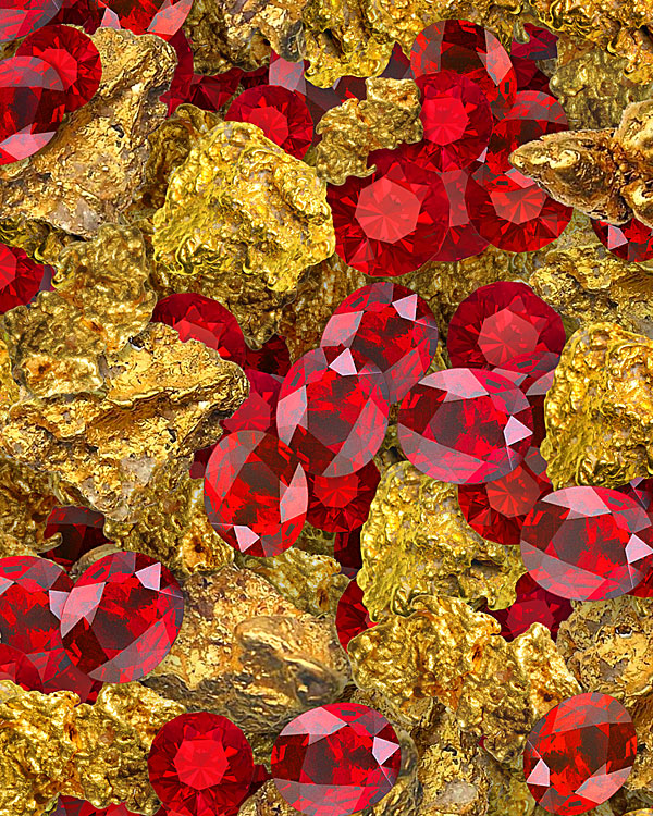 Gold Nuggets & Rubies - Ruby Red - DIGITAL PRINT