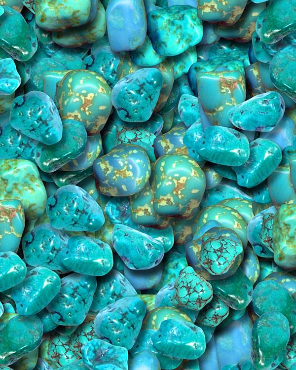 Tumbled Turquoise Gemstones - Bright Turquoise - DIGITAL PRINT