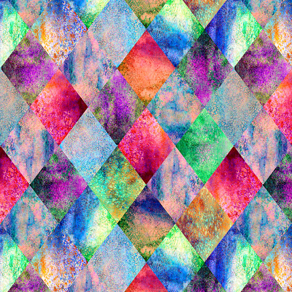 Small Watercolor Argyle - Jewel/Multi - DIGITAL PRINT