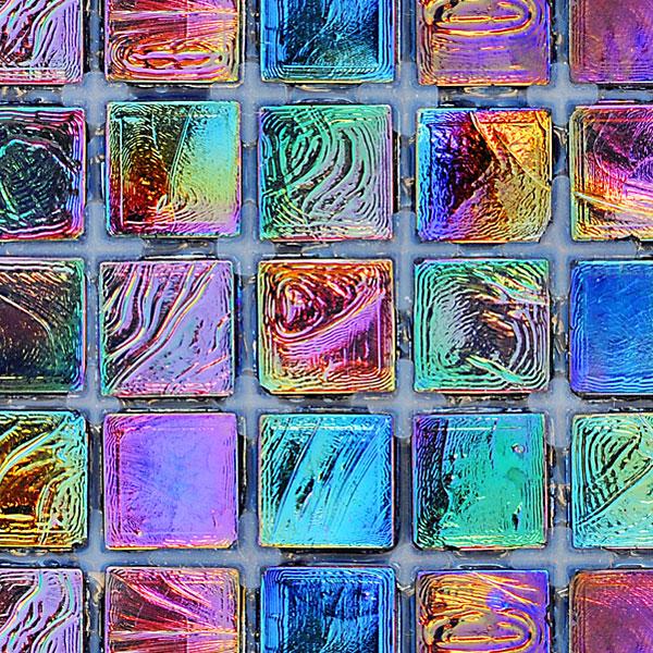 Mosaic Tiles - Raku Rainbow - Slate - DIGITAL PRINT