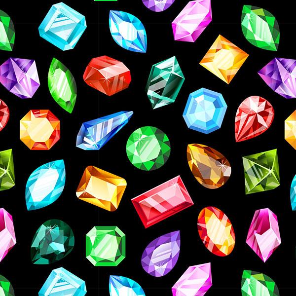 Gemstones Allover - Black - DIGITAL PRINT