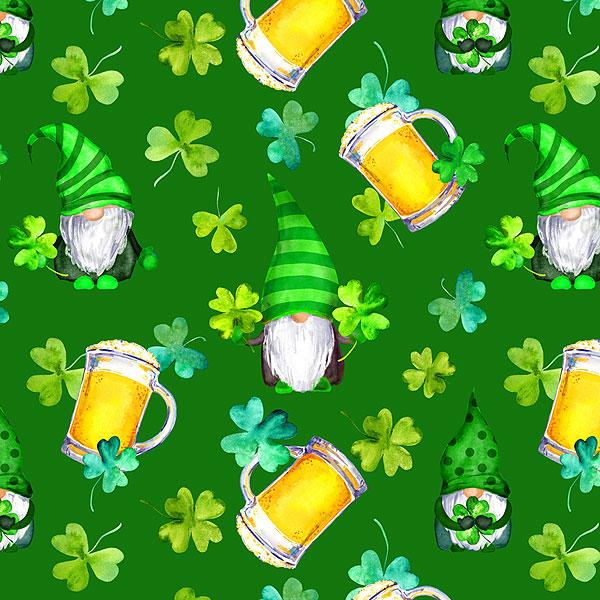 St. Patrick's Day Gnomes - Emerald Green - DIGITAL PRINT
