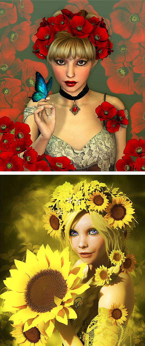 "Sunflower and Poppy Elves - 26"" x 44"" PANEL - DIGITAL PRINT"