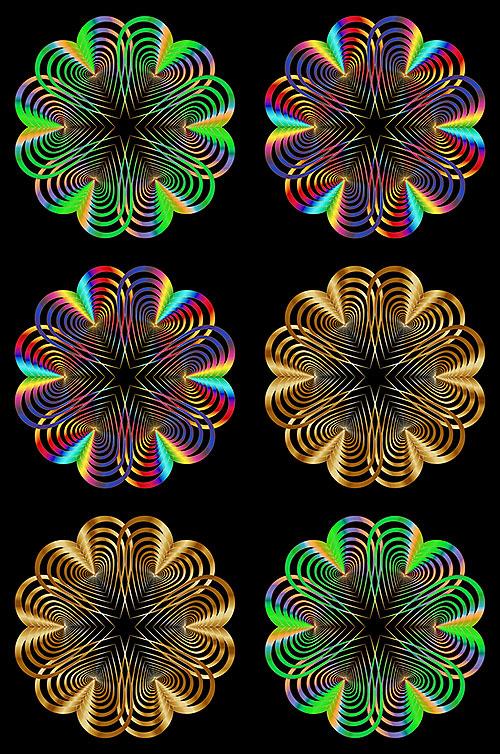 """Heart Mandalas - Black - 29"""" x 44"""" PANEL - DIGITAL PRINT"""