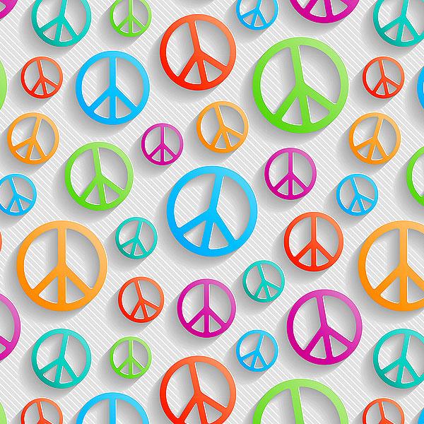 Rainbow Peace Signs - White - DIGITAL PRINT