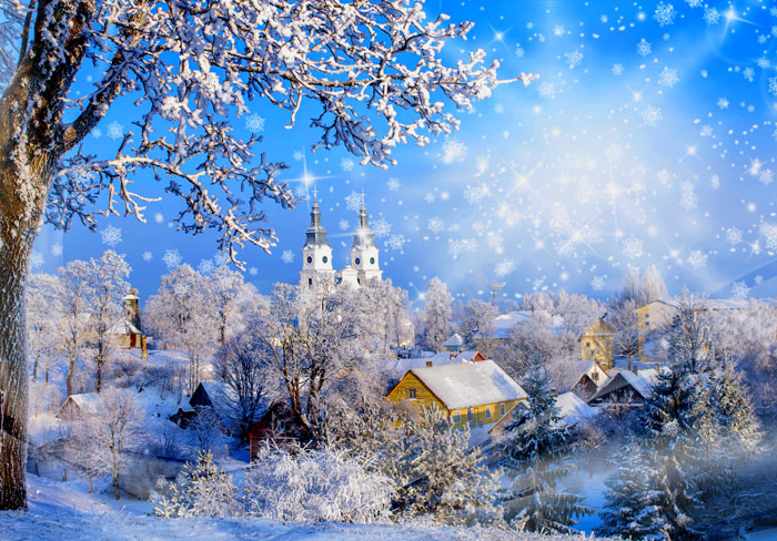 """Frosted Churches - Ice Blue - 29"""" x 44"""" PANEL - DIGITAL PRINT"""