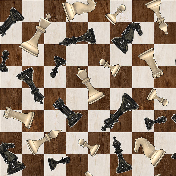 Chess - Walnut Board - Dk Brown - DIGITAL PRINT