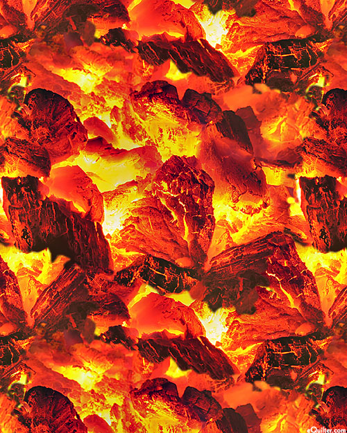 Fire - Hot Lava Flames - Blaze Orange - DIGITAL PRINT