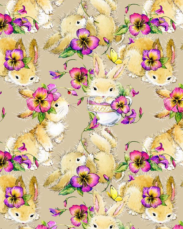 Bunnies with Teacups - Soft Taupe - DIGITAL PRINT