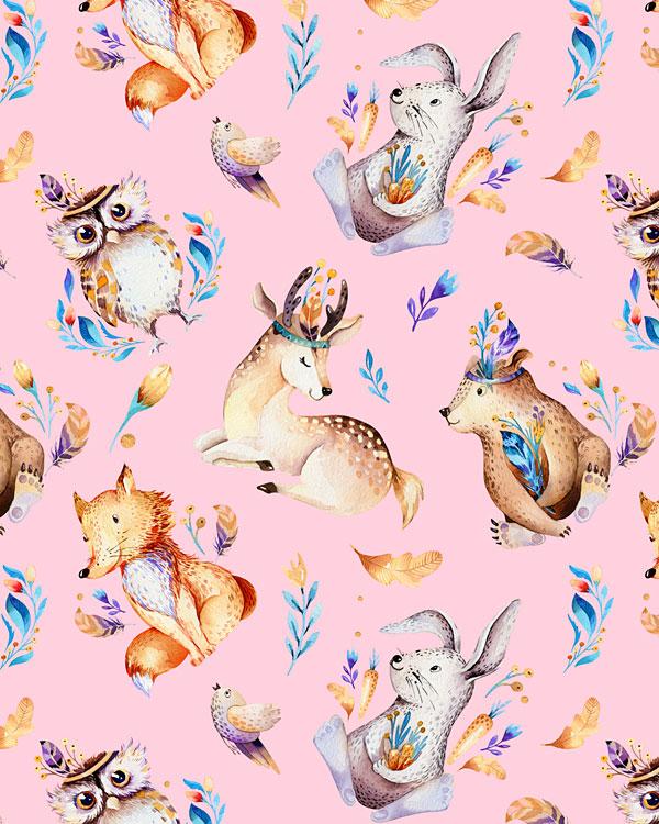 Woodland Nursery Animals - Pastel Pink - DIGITAL PRINT