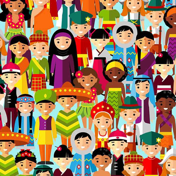 Multicultural Children - Aqua - DIGITAL PRINT