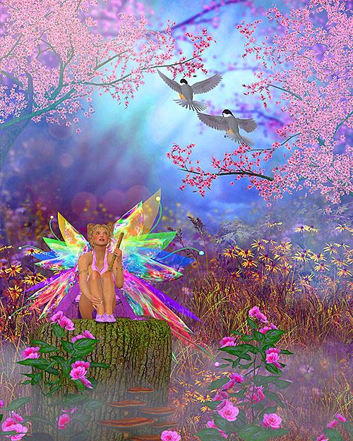 "Fairies - Spring Glow - 38"" x 44"" PANEL - DIGITAL PRINT"