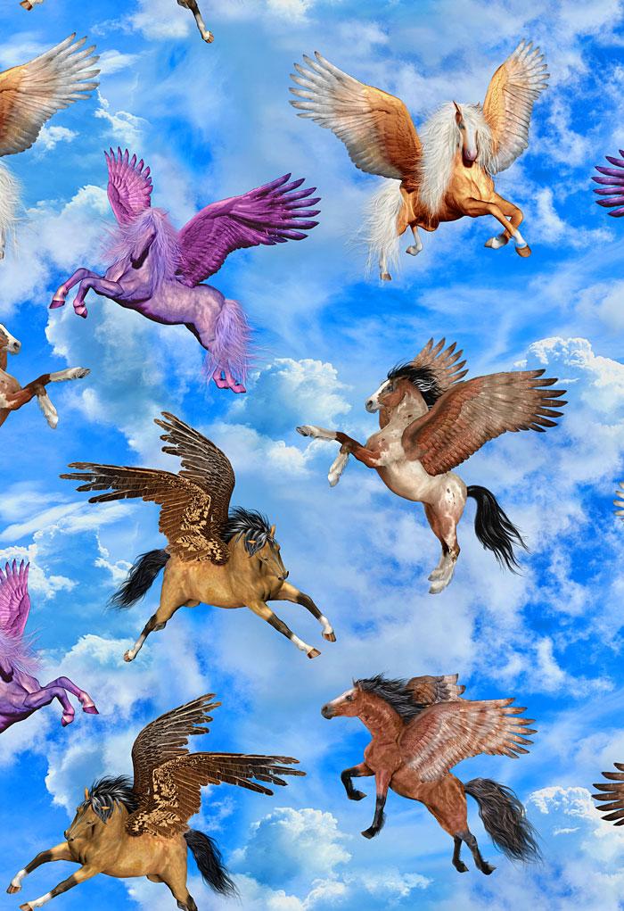 Pegasus in the Clouds - Sky Blue - DIGITAL PRINT