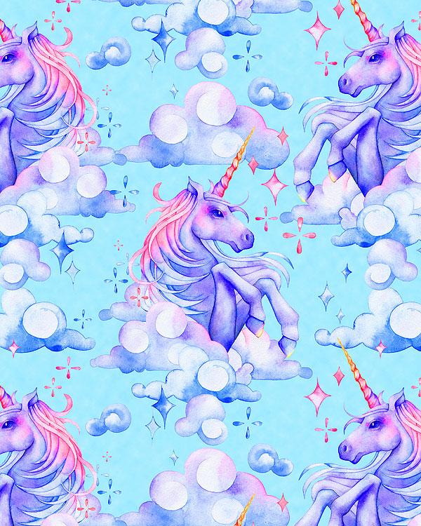 Watercolor Unicorns in the Clouds - Aquamarine - DIGITAL PRINT