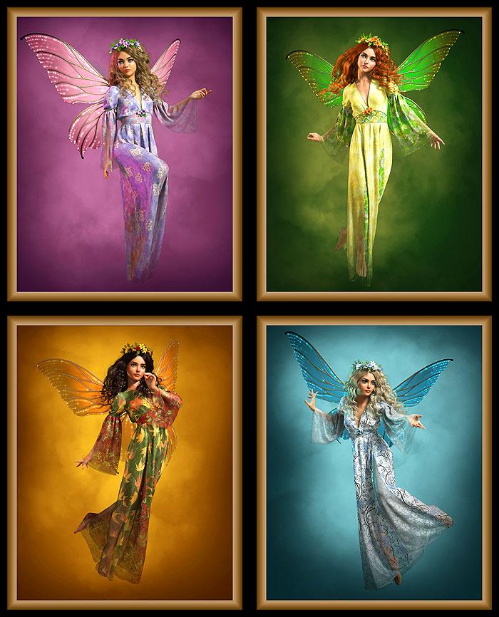 """Fairies through the Seasons - 35"""" x 44"""" PANEL - DIGITAL PRINT"""