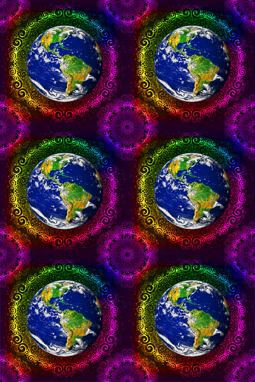 "Love Your Mother - 6 Mandala Planets - DIGITAL 28"" x 44"" PANEL"