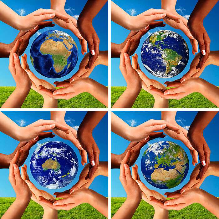 "Hands Around the World - 43"" x 44"" PANEL - DIGITAL PRINT"