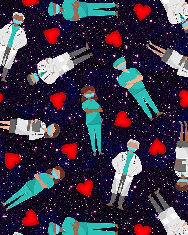 Medical Stars Allover - Midnight Blue - DIGITAL
