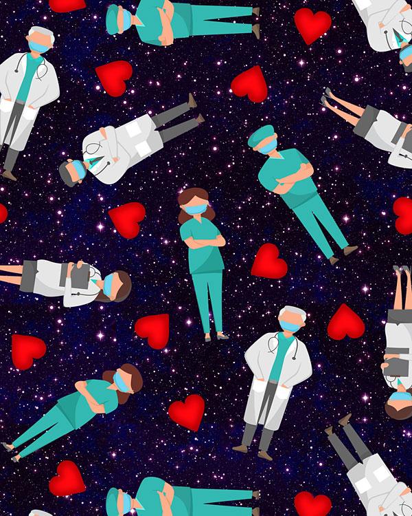 Medical Stars Allover - Navy Blue - DIGITAL