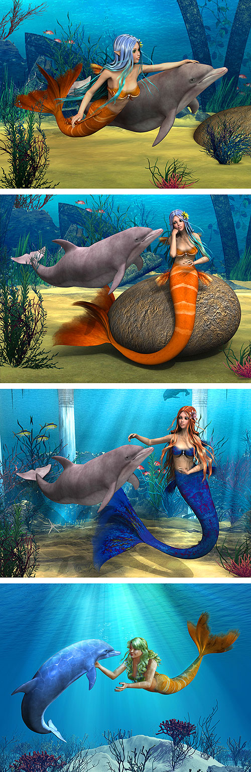 "Mermaids with Dolphins - Sea - 33"" X 44"" PANEL - DIGITAL PRINT"