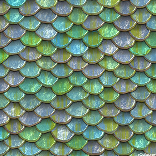 Mermaid Scales - Polished Scallops - Jade Green - DIGITAL PRINT