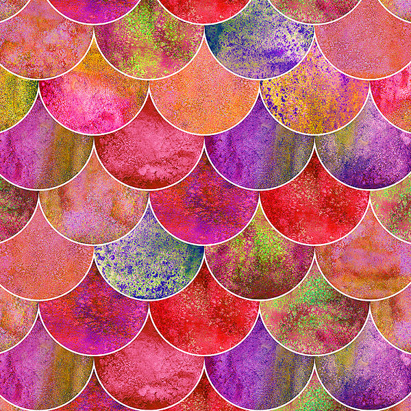 Colorful Fish Scales - Scallops - Cherry Red - DIGITAL PRINT