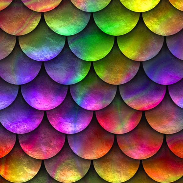 Rainbow Fish Scales - Dark/Multi - DIGITAL PRINT
