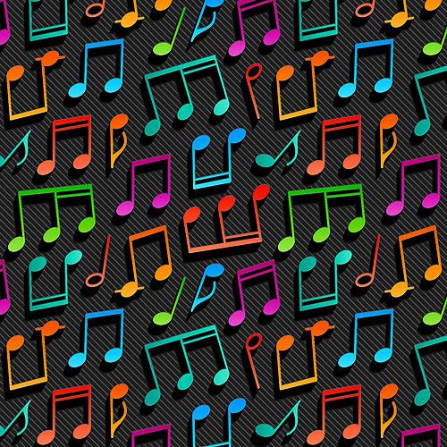 3D Musical Notes - Black - DIGITAL PRINT