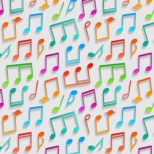 3D Musical Notes - White - DIGITAL PRINT