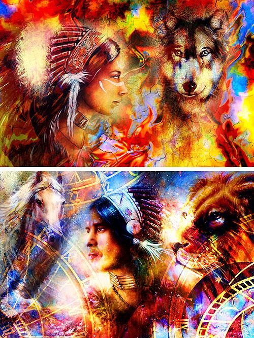 "Native Spirits & Headdresses - 33"" x 44"" PANEL - DIGITAL PRINT"