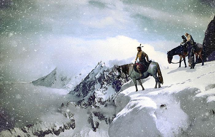 "Native Tradition - Winter Landscape - 28"" x 44"" PANEL - DIGITAL"