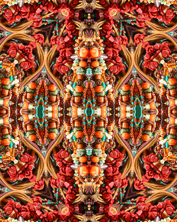 Native American Beads - Red Coral - DIGITAL PRINT
