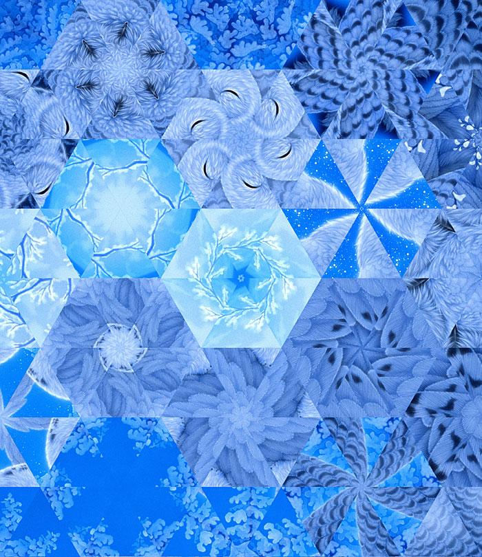 My Little Angel Owls Hexagons - Glacier Blue - DIGITAL PRINT