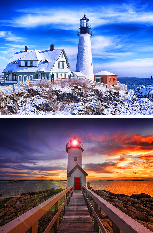 "Iconic Lighthouses - Portland & Gloucester - 21"" x 44"" PANEL"